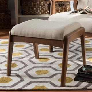 Baxton Studio Olysseus Mid-Century Modern Walnut Wood Finishing and Fabric Upholstered Ottoman