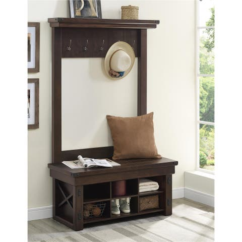Carbon Loft Konkle Mahogany Entryway Hall Tree with Bench