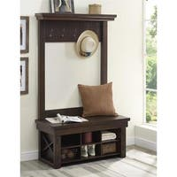 Ameriwood Home Wildwood Mahogany Entryway Hall Tree with Bench
