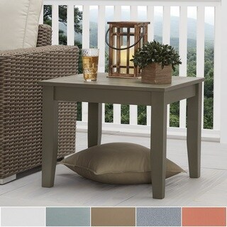 Yasawa Wood Patio Cushioned Accent Ottoman Side Table - Grey iNSPIRE Q Oasis