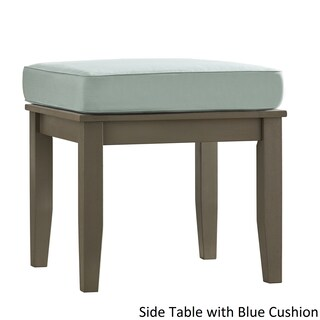 Yasawa Wood Patio Cushioned Accent Ottoman Side Table - Grey iNSPIRE Q Oasis (Option: BLUE Cushion)