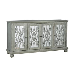 Hand Painted Distressed Washed White/Blue Finish Console Chest Cabinet
