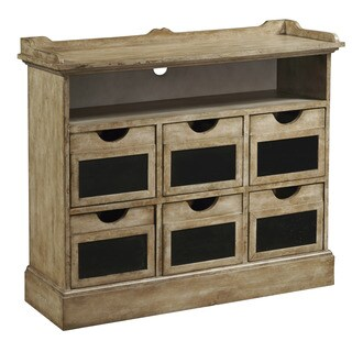 Hand Painted Distressed Natural Brown Finish Accent Chest