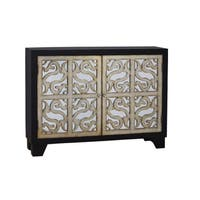 Hand Painted Distressed Brown and Gold Finish Console Chest Cabinet