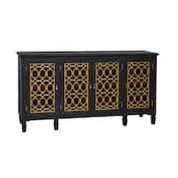 Hand Painted Distressed Black and Gold Finish Console Cabinet