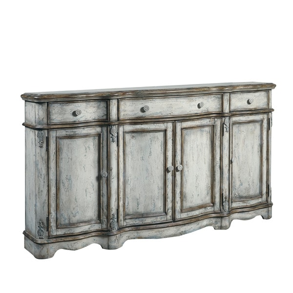 Hand Painted Distressed Weathered Cream/Blue Finish Console Cabinet