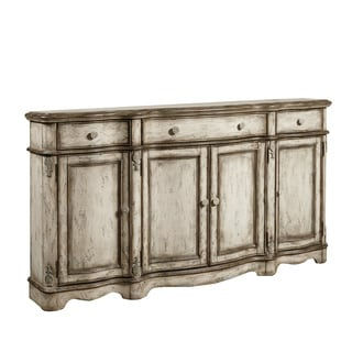 Hand Painted Distressed Weathered Beige Finish Console Cabinet