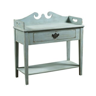 Hand Painted Distressed Washed Blue Finish Console Table