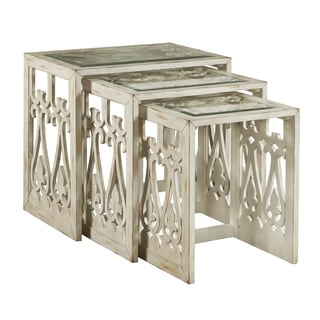 Hand Painted Distressed Aged White Finish Nesting Tables