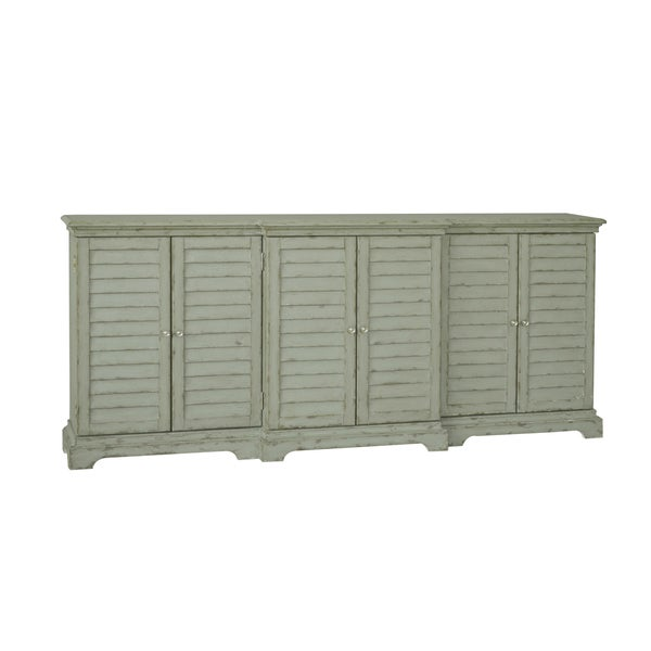 Hand Painted Distressed Weathered Grey/Green Finish Console Cabinet