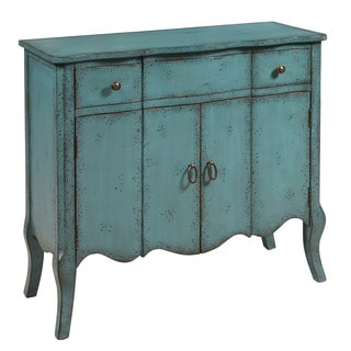 Hand Painted Distressed Turquoise Blue Finish Accent Chest