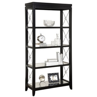 Black Finish Bookcase/Etagere with Glass Shelves
