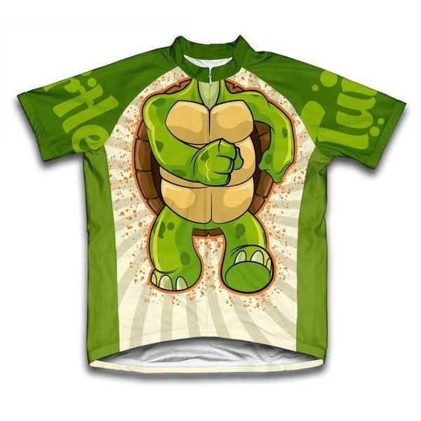 Scudo Turtle Green Microfiber Short-sleeved Cycling Jersey
