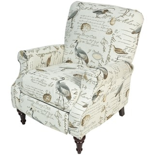 Porter Aviary Handwritten Bird Life Pushback Reclining Chair with Turned Legs
