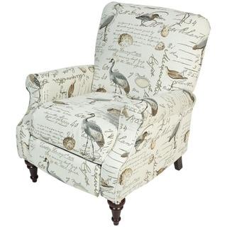 Porter Aviary Handwritten Bird Life Pushback Reclining Chair with Turned Legs