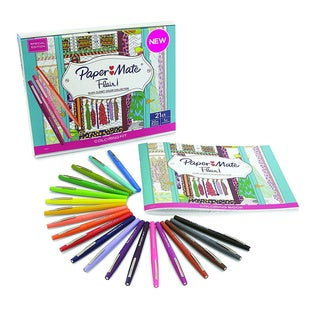 Paper Wooden Colored Pencils Mate Flair Felt Tip Pens, Medium Point, Assorted 20