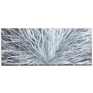 Nate Halley 'Blooming' Abstract Metal Art on Natural Aluminum