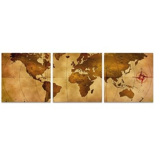 Alan Rodriguez 'Old World Map Triptych' World Map Art on Metal or Acrylic
