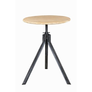 Modern Industrial Adjustable Iron and Wood Accent Table