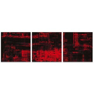 Nicholas Yust 'Aporia Red Triptych' Red Metal Art on Metal or Acrylic