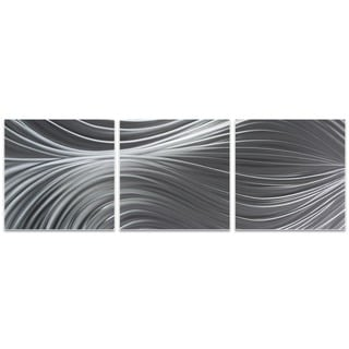 Nicholas Yust 'Passing Currents Triptych' Flowing Metal Art on Metal or Acrylic