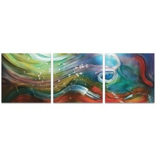 Nicholas Yust 'Esne Triptych' Rainbow Metal Art on Metal or Acrylic