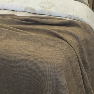 YUE Home Textile Twin-size Linen Waffle Blanket (3 options available)