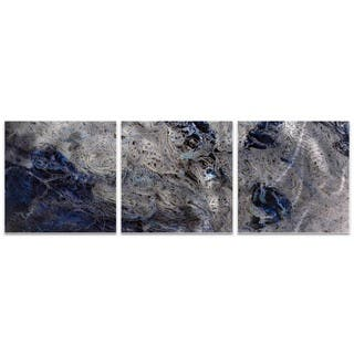 Emley 'Storm Blue Triptych' Blue Metal Art on Metal or Acrylic