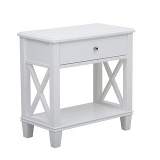 White Finish Accent End Table