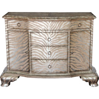 Hand Painted Distressed Taupe and Silver Finish Accent Chest