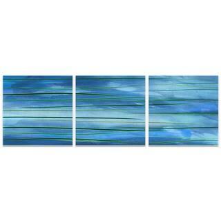 Amber LaRosa 'Ocean View Triptych' Blue Metal Art on Metal or Acrylic