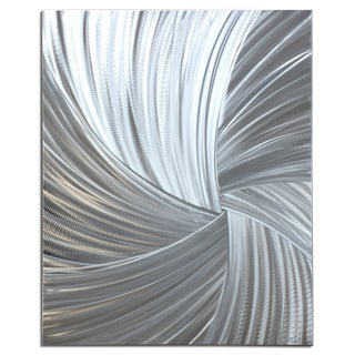 Helena Martin 'Within the Folds' Starburst Metal Art on Natural Aluminum
