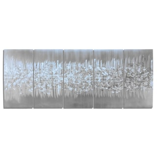 Nate Halley 'Static' Abstract Metal Art on Natural Aluminum