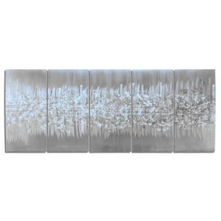 Nate Halley 'Static' Abstract Metal Art on Natural Aluminum|https://ak1.ostkcdn.com/images/products/13477697/P20163921.jpg?impolicy=medium