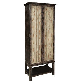 Hand Painted Distressed Black and Brown Finish Accent Storage Cabinet