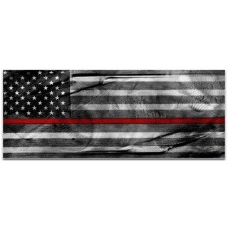 Eric Waddington 'American Glory Firefighter Tribute' Firemen Flag on Metal or Acrylic