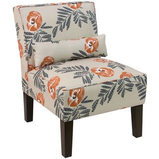 Skyline Cream Fabric with Orange/Grey Floral Pattern Accent Chair