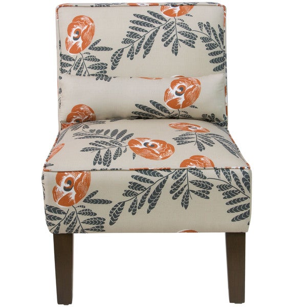 Skyline Cream Fabric With Orange/Grey Floral Pattern Accent Chair   Free  Shipping Today   Overstock.com   20164006