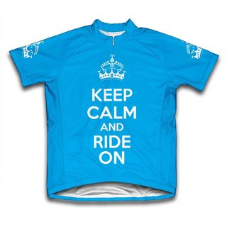 Scudo 'Keep Calm and Ride On' Microfiber Short-sleeved Cycling Jersey