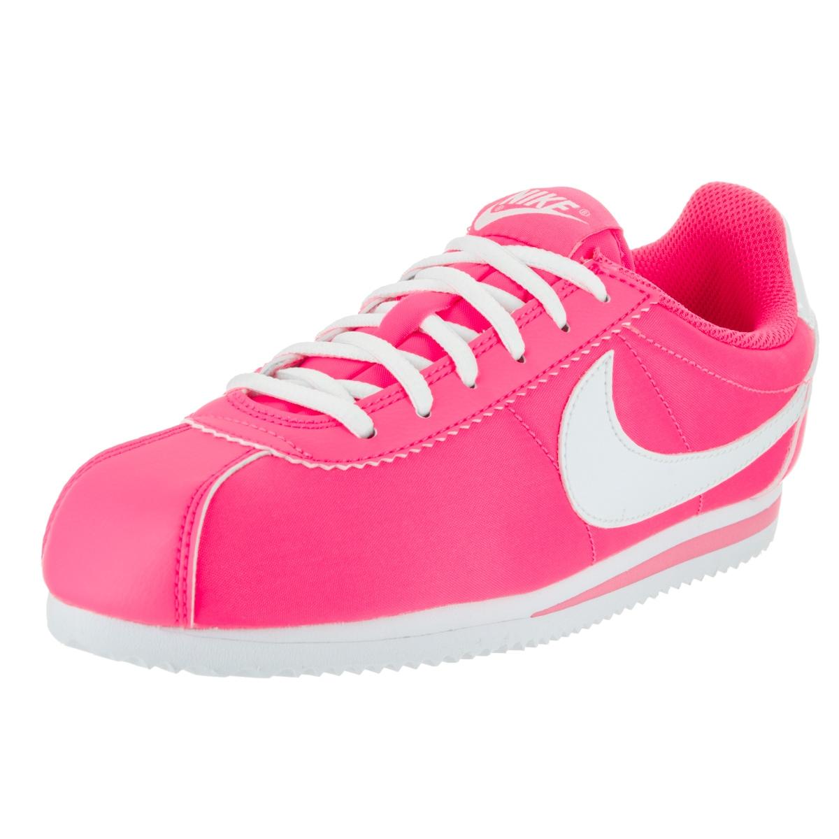 Nike Kids' Cortez Pink Nylon Casual Shoes (5.5), Boy's