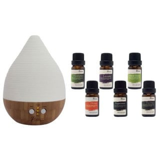 Pursonic Bamboo Aroma Diffuser/Humidifier w/ 8 Aromatherapy Oils
