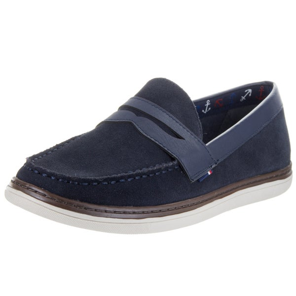 5915b63c57a1 Shop Tommy Hilfiger Men s Lyons 2 Blue Leather Loafers - Free ...