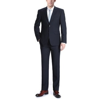 Verno Men's Dark Navy Wool Classic-Fit 2-Piece Suit
