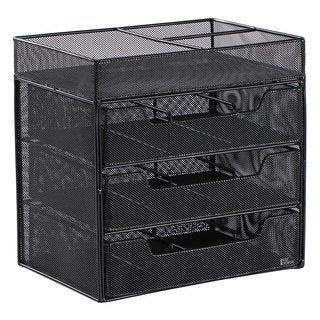 Ikee Design Metal Mesh 3-Drawer Cosmetic Organizer