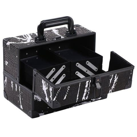 Black and White Splatter Cosmetic Travel Carrying Case