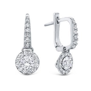 Auriya 14k Gold 1ct TDW Round Cut Diamond Halo Leverback Earrings