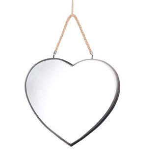 Ikee Design Heart-Shaped, Metal-Framed, Rope-Hung Mirror