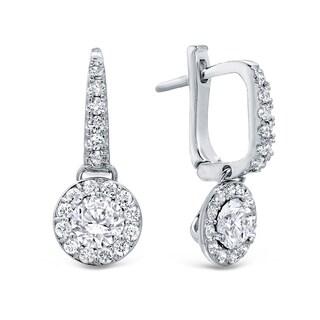Auriya 14k Gold 1 1/2ct TDW Round Cut Diamond Halo Leverback Earrings