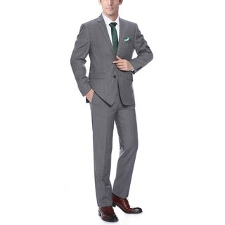 Verno Men's Dark Grey Wool Classic-Fit 2-Piece Suit