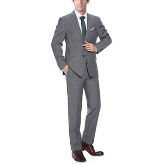 Verno Men's Dark Grey Wool Slim-Fit 2-Piece Suit